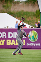 Lehigh Valley IronPigs right fielder Dylan Cozens (31) catches a fly ball during a game against the Syracuse Chiefs on May 20, 2018 at NBT Bank Stadium in Syracuse, New York.  Lehigh Valley defeated Syracuse 5-2.  (Mike Janes/Four Seam Images)