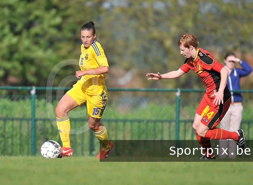 Belgium - Ukraine : Iya Andrushchak aan de bal voor Lien Mermans (14)<br /> foto DAVID CATRY / Nikonpro.be