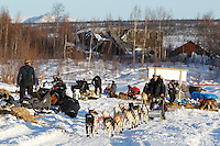 Hugh Neff runs down the river as he leaves the ghost-town checkpoint of  Iditarod during the 2011 Iditarod race..