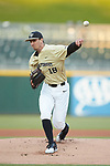 Wake Forest Demon Deacons starting pitcher Carter Bach (18) delivers a pitch to the plate against the Charlotte 49ers at BB&T BallPark on March 13, 2018 in Charlotte, North Carolina.  The 49ers defeated the Demon Deacons 13-1.  (Brian Westerholt/Sports On Film)