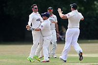 R Saunders of Hornchurch celebrates the wicket of L Pickering during Upminster CC (batting) vs Hornchurch CC, Shepherd Neame Essex League Cricket at Upminster Park on 8th July 2017