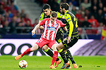Atletico de Madrid's Kevin Gameiro (f) and Sporting Clube de Portugal's Rodrigo Battaglia (b) and Bryan Ruiz during Europa League Quarter-finals, 1st leg. April 5,2018. (ALTERPHOTOS/Acero)