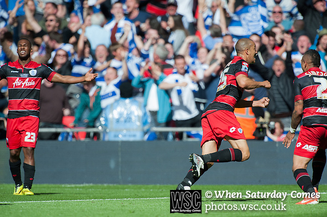 Queens Park Rangers 1 Derby County 0, 24/05/2014. Wembley Stadium, Championship Play Off Final. Bobby Zamora celebrates his last minute winning goal during the Championship Play-Off Final between Queens Park Rangers and Derby County from Wembley Stadium.  Photo by Simon Gill.