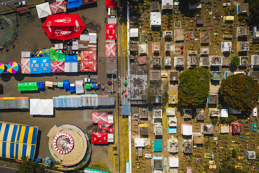 Aerial view of the Ciudad Vieja, Guatemala cemetery on Day of the Dead in Ciudad Vieja, Guatemala on Friday, Nov. 2, 2018.