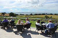 Harrison's Restaurant, Greyabbey, Co Down, N Ireland, UK, open-air, alfresco, dining, with a view of Strangford Lough and the Mournes. 201208180512..Copyright Image from Victor Patterson, 54 Dorchester Park, Belfast, UK, BT9 6RJ..Tel: +44 28 9066 1296.Mob: +44 7802 353836.Voicemail +44 20 8816 7153.Skype: victorpattersonbelfast.Email: victorpatterson@me.com.Email: victorpatterson@ireland.com (back-up)..IMPORTANT: If you wish to use this image or any other of my images please go to www.victorpatterson.com and click on the Terms & Conditions. Then contact me by email or phone with the reference number(s) of the image(s) concerned.