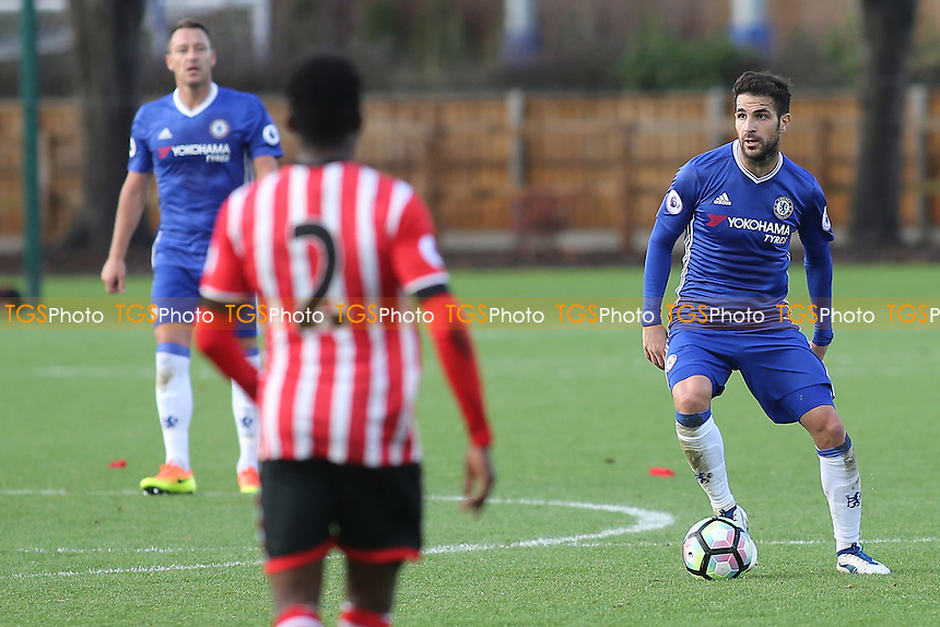 Chelsea's Cesc Fabregas in possession as John Terry looks on during Chelsea Under-23 vs Southampton Under-23, Premier League 2 Football at the Cobham Training Ground on 21st November 2016