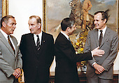 United States Vice President George H.W. Bush, right, and U.S. Secretary of State Alexander Haig, left, meet Minister of Foreign Affairs Chris van der Klaauw, center left, and Prime Minister Andreas A.M. &quot;Dries&quot; van Agt of the Netherlands at the White House in Washington, D.C. on March 31, 1981.  Bush has temporarily taken over the duties of the Chief Executive following the assassination attempt on U.S. President Ronald Reagan the day before.<br /> Mandatory Credit: Cynthia Johnson / White House via CNP