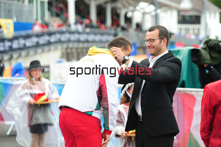IPC European Athletics Championship 2014<br /> Swansea University<br /> <br /> Medal ceremony: Men's long jump T20.<br /> <br /> 21.08.14<br /> Chris Vaughan-SPORTINGWALES