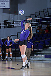Megan Kennedy (6) of the High Point Panthers serves against the Liberty Flames at the Millis Athletic Center on September 23, 2016 in High Point, North Carolina.  The Panthers defeated the Flames 3-1.   (Brian Westerholt/Sports On Film)