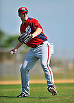 20 February 2011: Washington Nationals' pitcher Garrett Mock takes some fielding practice during Spring Training at the Carl Barger Baseball Complex in Viera, Florida. Mandatory Credit: Ed Wolfstein Photo