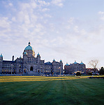 The Victoria Government Parliament Buildings on Vancouver Island in the Province of British Columbia, Canada proudly fronts the Inner Harbour. The harbour is the main gathering place for activity in Victoria. The BC Government Parliament Buildings looks out over the yachts and sailboats moored in the marina and a two level waterfront walk-way.
