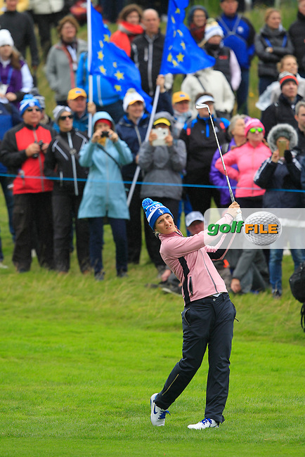 Anne Van Dam of Team Europe on the 1st fairway during Day 2 Fourball at the Solheim Cup 2019, Gleneagles Golf CLub, Auchterarder, Perthshire, Scotland. 14/09/2019.<br /> Picture Thos Caffrey / Golffile.ie<br /> <br /> All photo usage must carry mandatory copyright credit (© Golffile   Thos Caffrey)