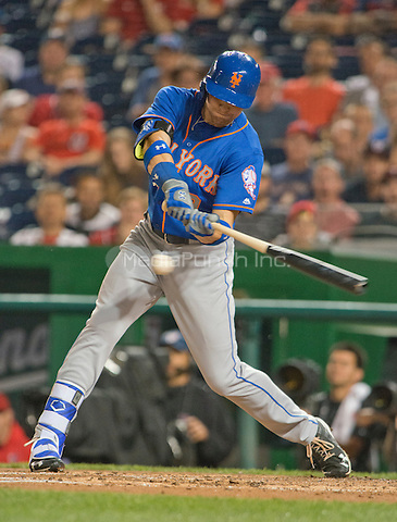 New York Mets right fielder Brandon Nimmo (9) bats in the fifth inning against the Washington Nationals at Nationals Park in Washington, D.C. on Tuesday, June 28, 2016. The Nationals won the game 5 - 0.<br /> Credit: Ron Sachs / CNP/MediaPunch ***FOR EDITORIAL USE ONLY***