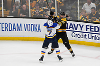 June 12, 2019: Boston Bruins defenseman Zdeno Chara (33) and St. Louis Blues left wing Pat Maroon (7) in game action during game 7 of the NHL Stanley Cup Finals between the St Louis Blues and the Boston Bruins held at TD Garden, in Boston, Mass. Eric Canha/CSM