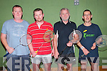 Badminton Tournament : Taking part in the Annual Listowel Badminton Tournament held in the Listowel Community Centre over last weekend were Jason Russell, Ballymacelligott, Eoin Gibbons, Ballyduff, Sean Comerford, Listowel & Mike O'Shea, Valentia Island.