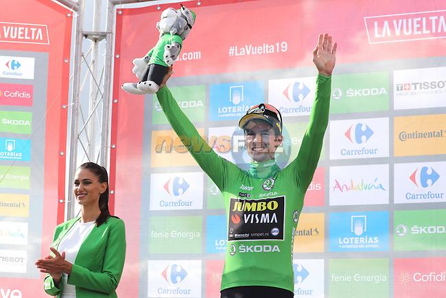Race leader Primoz Roglic (SLO) Team Jumbo-Visma also retains the points Green Jersey at the end of Stage 13 of La Vuelta 2019 running 166.4km from Bilbao to Los Machucos, Spain. 6th September 2019.<br /> Picture: Luis Angel Gomez/Photogomezsport | Cyclefile<br /> <br /> All photos usage must carry mandatory copyright credit (© Cyclefile | Luis Angel Gomez/Photogomezsport)
