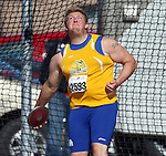 SIOUX FALLS, SD - MAY 2:  Cullen Mack from South Dakota State University throws the discus Friday afternoon at the Howard Wood Dakota Relays. (Photo by Dave Eggen/Inertia)