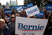 Queens, New York<br /> Queensbridge Park<br /> October 19.2019<br /> <br /> Senator Bernie Sanders supporters at his first major campaign rally since suffering from a heart attack earlier this month in Queensbridge Park. <br /> <br /> Congresswoman New York Rep. Alexandria Ocasio-Cortez endorses Sanders for US President at the rally.<br /> <br /> An estimated 26,000 people attended the event according to the Sanders campaign.