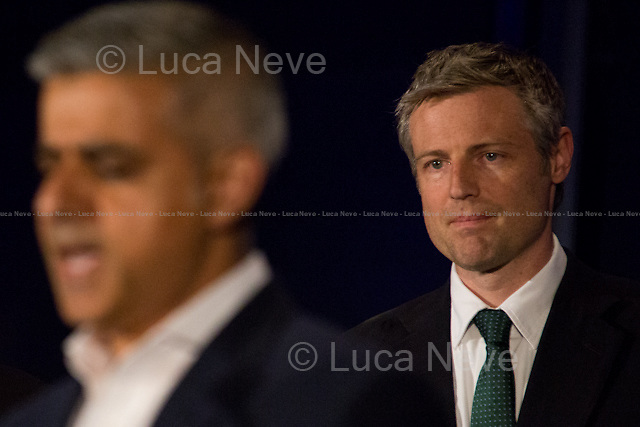 (From L to R) Sadiq Khan MP (Labour Party new Mayor of London) &amp; Zac Goldsmith MP (Conservative Party London Mayor Candidate).<br /> <br /> London, 06-07/05/2016. The morning after the London Mayoral Election, press began to congregate on the ninth floor of City Hall to report on the results and the official announcement of the new Mayor of London. At 15:21, the press team of City Hall announced the results by constituency. At just gone 17:30, the press videographers and photographers were escorted downstairs to the Chamber (second floor) to wait for the official final announcement. The press waited, however, almost five hours for this to happen. At 22:11, the Greater London Returning Officer, Jeff Jacobs, approached the stage and presented the new Greater London Assembly members. And, finally, at 12:18 on the 7th of May (just under nine hours after the first City Hall press announcement), Mr Jacobs officially announced the new Mayor of London, Sadiq Khan for the Labour Party. An official statement (that you can find at https://londonelects.org.uk/news-centre/news-listing/election-count-delay-explained and in the PDF attached to this story) was released on the 7th of May to explain the delay - which was previously described as being due to &quot;minor discrepancies in Mayoral figures&quot;. <br /> For more information, official statements, the results of the Mayoral Election and links for the London Assembly Members Election Results please find the PDF attached at the beginning of the story.<br />    <br /> London Mayoral Election 2016 Results:<br /> (Sources London Elects &amp; Wikipedia)<br /> https://www.londonelects.org.uk/sites/default/files/Part%201%20Election%20of%20the%20London%20Mayor.pdf <br /> https://en.wikipedia.org/wiki/London_mayoral_election,_2016<br /> <br /> London Assembly Members Election 2016 Results:<br /> https://www.londonelects.org.uk/sites/default/files/London-wide%20Assembly%20Member%20results%202016.pdf<br /> https://en.wikipedia.org/
