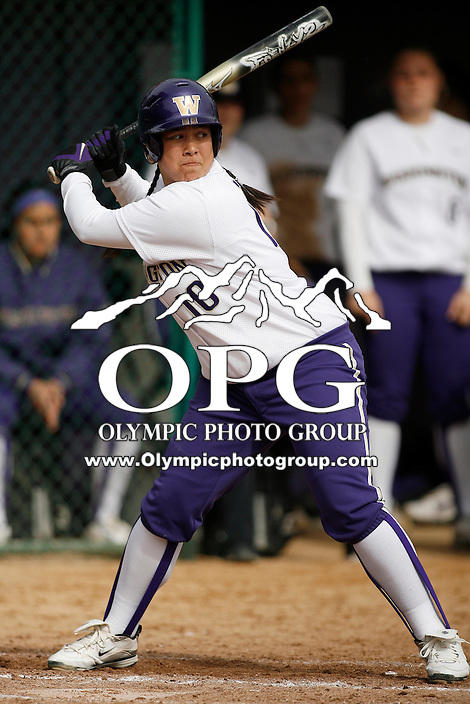 14 March 2010:  Washington Husky #10 Hooch Fagaly sets up in the batters box against Seattle University. Washington defeated Seattle University 8-3 at Husky Softball Stadium in Seattle, WA.