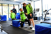 Yan Dhanda and George Byers of Swansea City in the gym during the Swansea City Training at The Fairwood Training Ground in Swansea, Wales, UK. Wednesday 30 October  2019