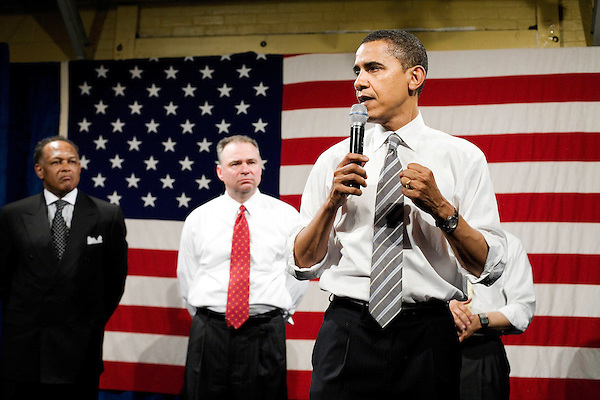 "Tuesday, May 8,  2007. Richmond, VA.. US Presidential candidate and senator Barack Obama, held what was billed as a ""low dollar fundraiser"" at Plant Zero in Richmond, VA, drawing a crowd of 700 supporters.. He was joined on stage by (l to r) Chair of the Virginia Legislative Black Caucus Dwight Jones and Virginia Governor Tim Kaine."