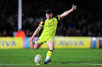 Freddie Burns of Leicester Tigers kicks for the posts. Aviva Premiership match, between Harlequins and Leicester Tigers on February 24, 2017 at the Twickenham Stoop in London, England. Photo by: Patrick Khachfe / JMP