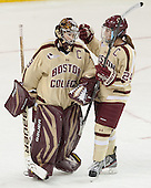 Corinne Boyles (BC - 29), Meagan Mangene (BC - 24) - The Boston College Eagles defeated the visiting University of Maine Black Bears 5 to 1 on Sunday, October 6, 2013, in their Hockey East season opener at Kelley Rink in Conte Forum in Chestnut Hill, Massachusetts.