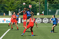 Kansas City, MO - Saturday May 13, 2017:  Emily Sonnett and Shea Groom go for header during a regular season National Women's Soccer League (NWSL) match between FC Kansas City and the Portland Thorns FC at Children's Mercy Victory Field.