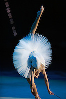 Yana Lukonina of Russia (junior) performs ribbon and ballet gala exhibition with combined Russian group at 2008 European Championships at Torino, Italy on June 7, 2008.  Photo by Tom Theobald.