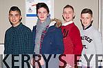 Matanz Alumusawi, Daniel O'Connor, Daniel Ciemeiga, and Ryan Casey doing their best Zoolander pose at the Killarney Community College fashion show on Wednesday evening