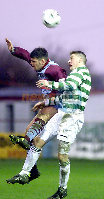 Drogheda United's Dai Thomas and Shamrock Rovers' Richie Purdy in action during thier league encounter at United Park..Picture: Paul Mohan/Newsfile