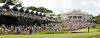 PGA golfer Adam Scott  hits from the fairway on the 18th hole during the 2008 Wachovia Championships at Quail Hollow Country Club in Charlotte, NC.