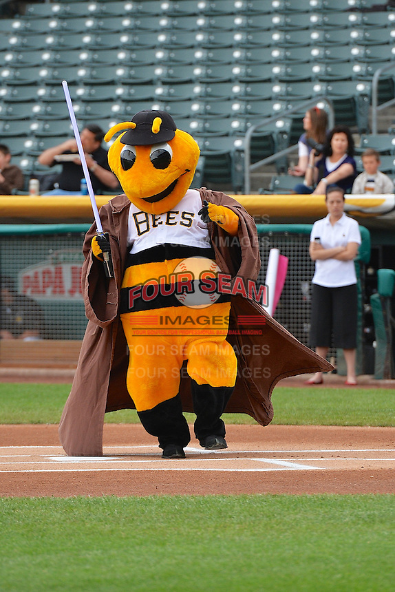 """Bumble the Salt Lake Bees mascot during Star Wars Night """"Revenge of the Fifth"""" at Smith's Ballpark on May 5, 2014 in Salt Lake City, Utah.  (Stephen Smith/Four Seam Images)"""