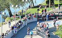 Spectators line the walls, as bikers head out along John Nolan Drive, during the 2015 Ironman competition on Sunday, September 13, 2015 in Madison, Wisconsin