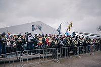 the UCI accredited photographers waiting for the U23 Men's podium ceremony to start<br /> <br /> UCI CX Worlds 2018<br /> Valkenburg - The Netherlands