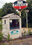 Old abandoned Phoenix petrol station, Cottee's West End Garage, Dedham, Essex, England
