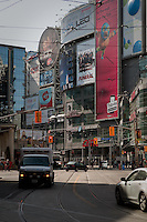 Advertisement boards fills the Younge-Dundas square in Toronto April 19, 2010. The square has been controversial for its design, its private board of management of a publicly-owned site and the overwhelming amount of commercial signage on the square.