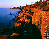 Cliff along Lake Superior' s northern  shoreline. Gooseberry Falls State Park Minnesota