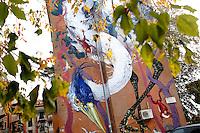 Titolo: Senza Titolo,  Artista Hitnes<br /> Title none Artist Hitnes<br /> Il progetto SANBA (da San Basilio, nome del quartiere), ha portato l'artista, Hitnes, a dipingere, come le quinte di un teatro, sei pareti di una piazzetta con aree dismesse di cemento e aiuole abbandonate. 6 murales barocchi dove la natura trionfa, a celebrare un mondo puro e incontaminato.<br /> With this project, called SANBA (from the name of the roman district, San Basilio) the artist painted 6 walls of a little, degraded square. 6 baroque murals, to celebrate a world pristine and pure <br /> Roma 17-11-2015 Street Art a Roma. In vari quartieri di Roma e' fiorita la Street Art, con splendidi murales che hanno lo scopo di raccontare delle storie della citta', di commemorare dei momenti importanti, o semplicemente di interpretarla.<br /> Street Art in Rome. Very important writers  painted Murales in various districts of Rome to tell stories about the city, to commemorate important moments, to embellish the quarter or simply to portray it.  <br /> Photo Samantha Zucchi Insidefoto