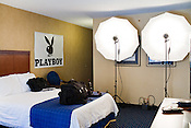 """March 31, 2009. Durham, NC.. Playboy Magazine came to town to shoot casting photos for their """"Girls of the ACC"""" issue. The photographer set up at local hotels and the applicants from the colleges and universities came to the room for their shot."""