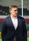 30th September 2017, Welford Road, Leicester, England; Aviva Premiership rugby, Leicester Tigers versus Exeter Chiefs; Ex Tigers favourite Toby Flood prepares to pre-match summarise for the TV