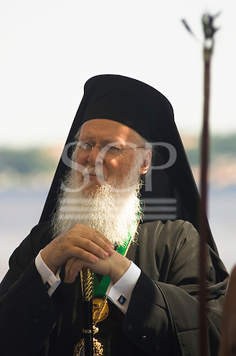 Portrait of Greek Orthodox Patriarch Bartholomew I. Manaus, Brazil. July 2006. Blessing of the Waters ecumenical ceremony at the Meeting of the Waters of the Rivers Solimoes and Negro (Encontro das Aguas).