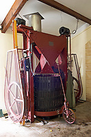 Old vertical basket press. Chateau la Grace Dieu les Menuts, Saint Emilion, Bordeaux, France