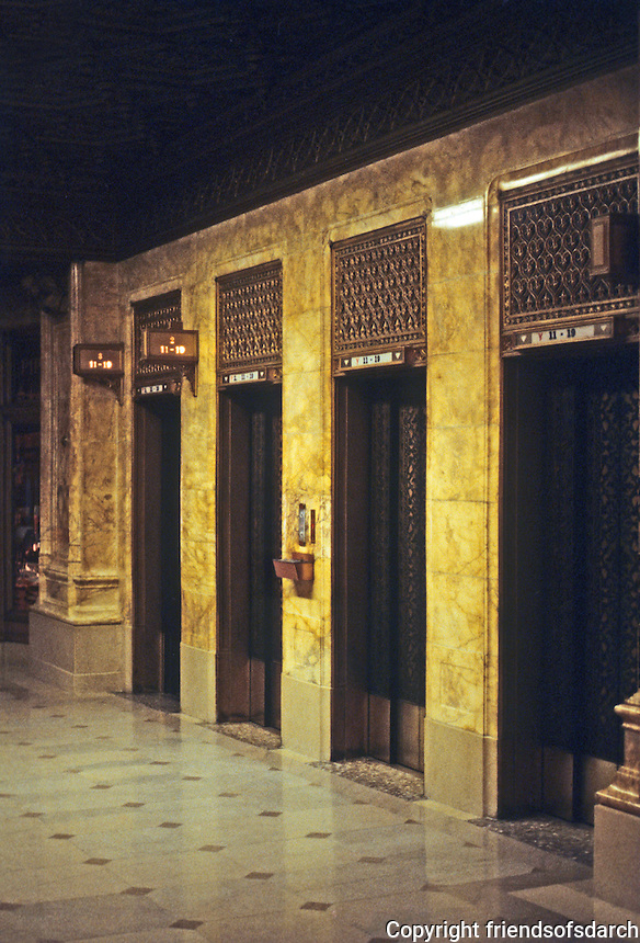 New York: Woolworth Building--Elevators. Photo '78.