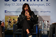 Washington, DC - May 17, 2016: First lady Michelle Obama participates in a discussion about youth athletics during the Apsen Institute's 2016 Project Play Summit at the Newseum in the District of Columbia, May 17, 2016. The discussion with her brother Craig Robinson was moderated by ESPN's Michael Wilbon.  (Photo by Don Baxter/Media Images International)