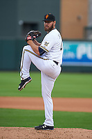 Surprise Saguaros pitcher Adrian Houser (47) delivers a pitch during an Arizona Fall League game against the Salt River Rafters on October 20, 2015 at Salt River Fields at Talking Stick in Scottsdale, Arizona.  Surprise defeated Salt River 3-1.  (Mike Janes/Four Seam Images)