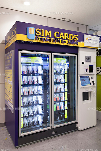A SIM card vending machine in the arrival lobby of Narita International Airport Terminal 1 on September 1, 2015, Chiba, Japan. NTT Communications Corp. has installed SIM card vending machines at the arrival lobby of Narita International Airport Terminals 1 and 2. Foreign visitors can activate their mobile phones and other devices with the SIM card upon their arrival for 3,726 yen <br /> ($30) for 7 days or 5,346 yen ($43) for 14 days. NTT Communications has also already set these machines in other tourist places such as Aqua City Odaiba and Kansai International Airport in Osaka. (Photo by Rodrigo Reyes Marin/AFLO)