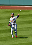 10 October 2012: St. Louis Cardinals center fielder Jon Jay in action during Postseason Playoff Game 3 of the National League Divisional Series against the Washington Nationals at Nationals Park in Washington, DC. The Cardinals shut out the Nationals 8-0 in the third game of their best of five series, giving St. Louis a 2-1 lead in the playoff. Mandatory Credit: Ed Wolfstein Photo
