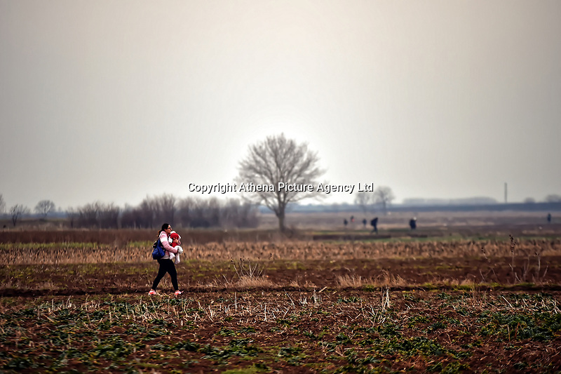 Pictured: Migrants by the Turkish side of the border in Andrianoupolis. Sunday 01 March 2020<br /> Re: Clashes between migrants and riot police at the Greek-Turkish border of Kastanies near Evros, Greece